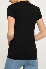 She + Sky Ribbed Button V Neck S/S Top - Front full body