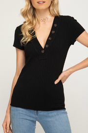 She + Sky Ribbed Button V Neck S/S Top - Front cropped