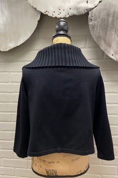 NY 77 Design Ribbed Collar Cardi - Alternate List Image