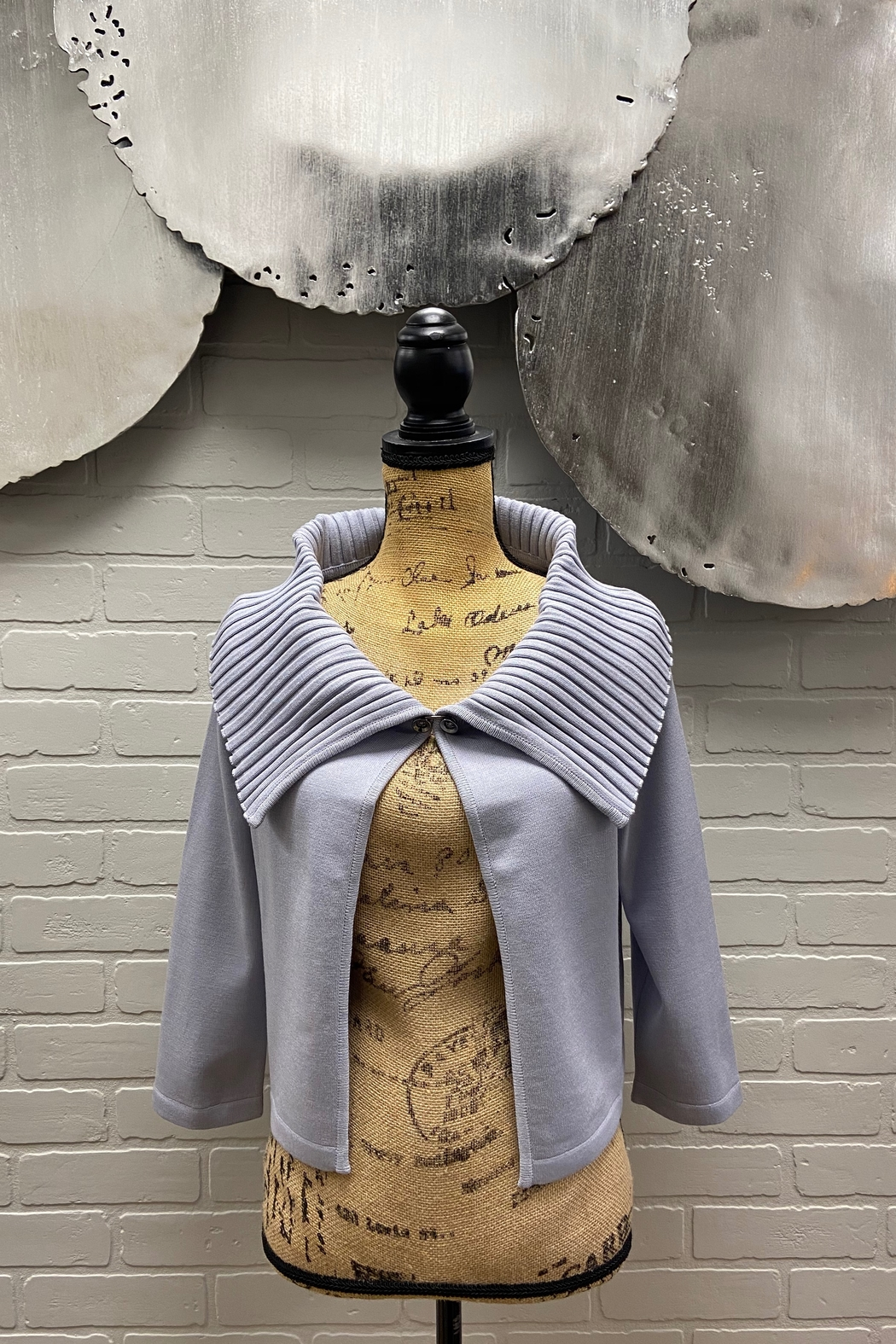 NY 77 Design Ribbed Collar Cardi - Front Cropped Image