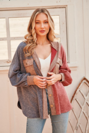 Hailey & Co Ribbed Color Block Jacket with Hood - Product Mini Image