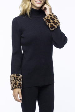 Tyler Boe Ribbed Cotton/Cashmere with Faux Cheetah Cuffs - Product List Image