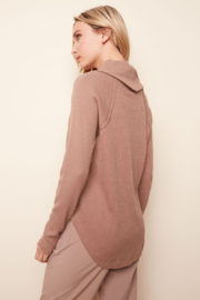Charlie B. Ribbed Cowl Neck Top - Front full body