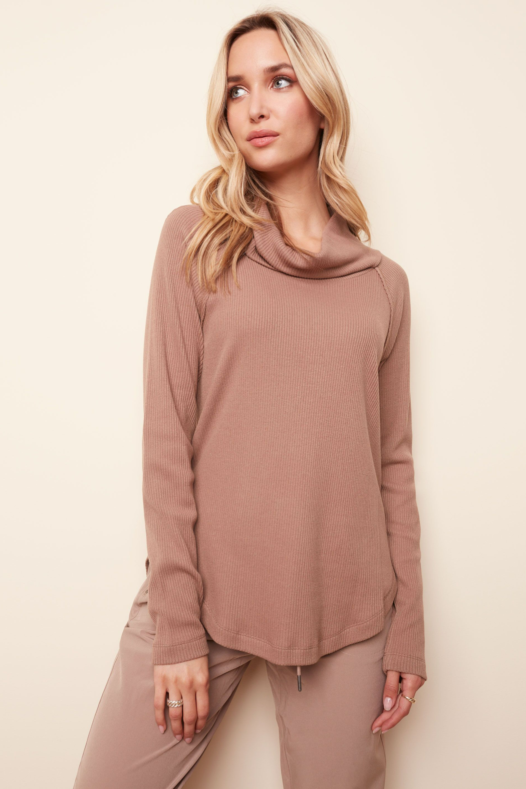 Charlie B. Ribbed Cowl Neck Top - Front Cropped Image