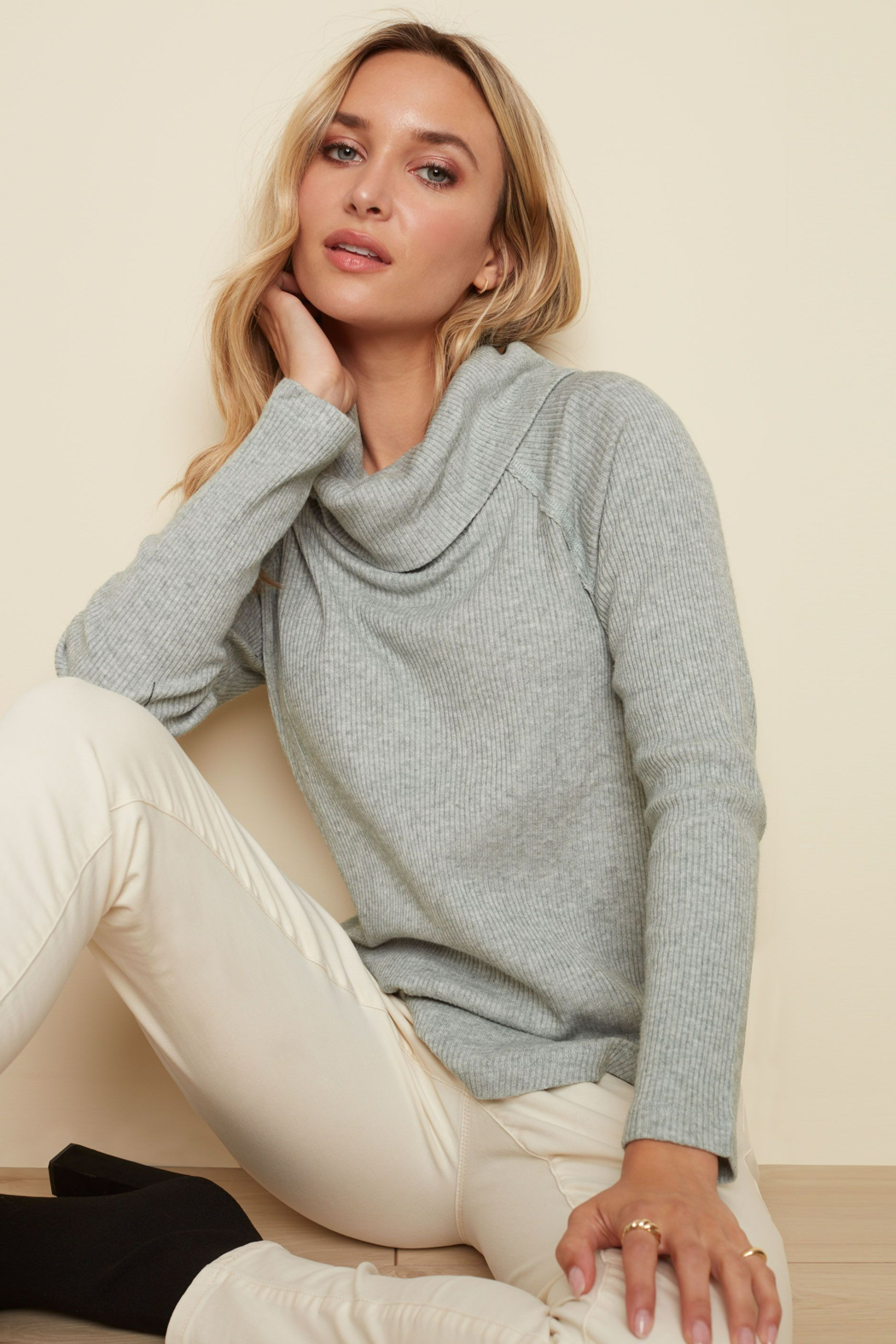 Charlie B. Ribbed Cowl Neck Top - Back Cropped Image