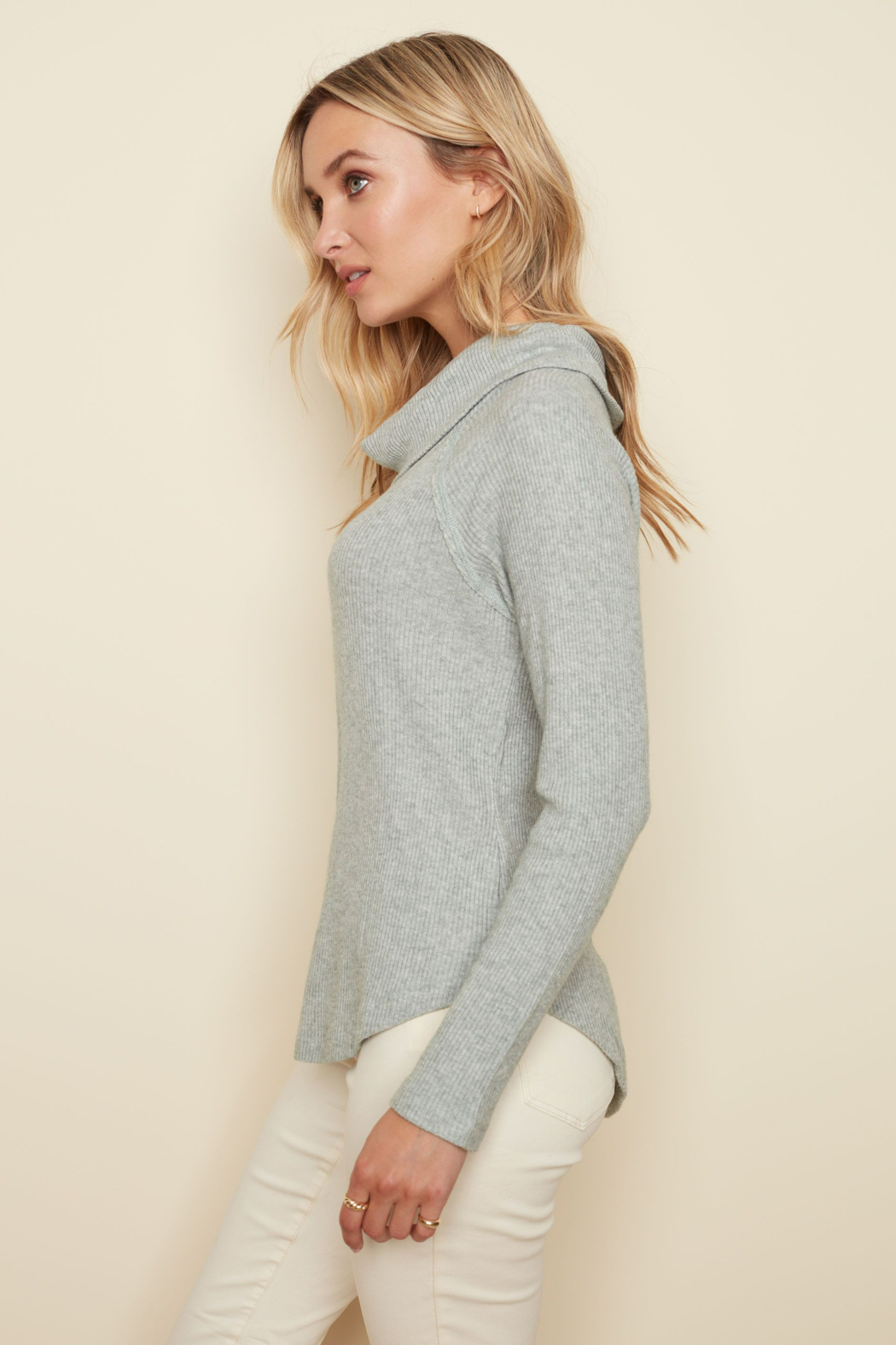Charlie B. Ribbed Cowl Neck Top - Front Full Image