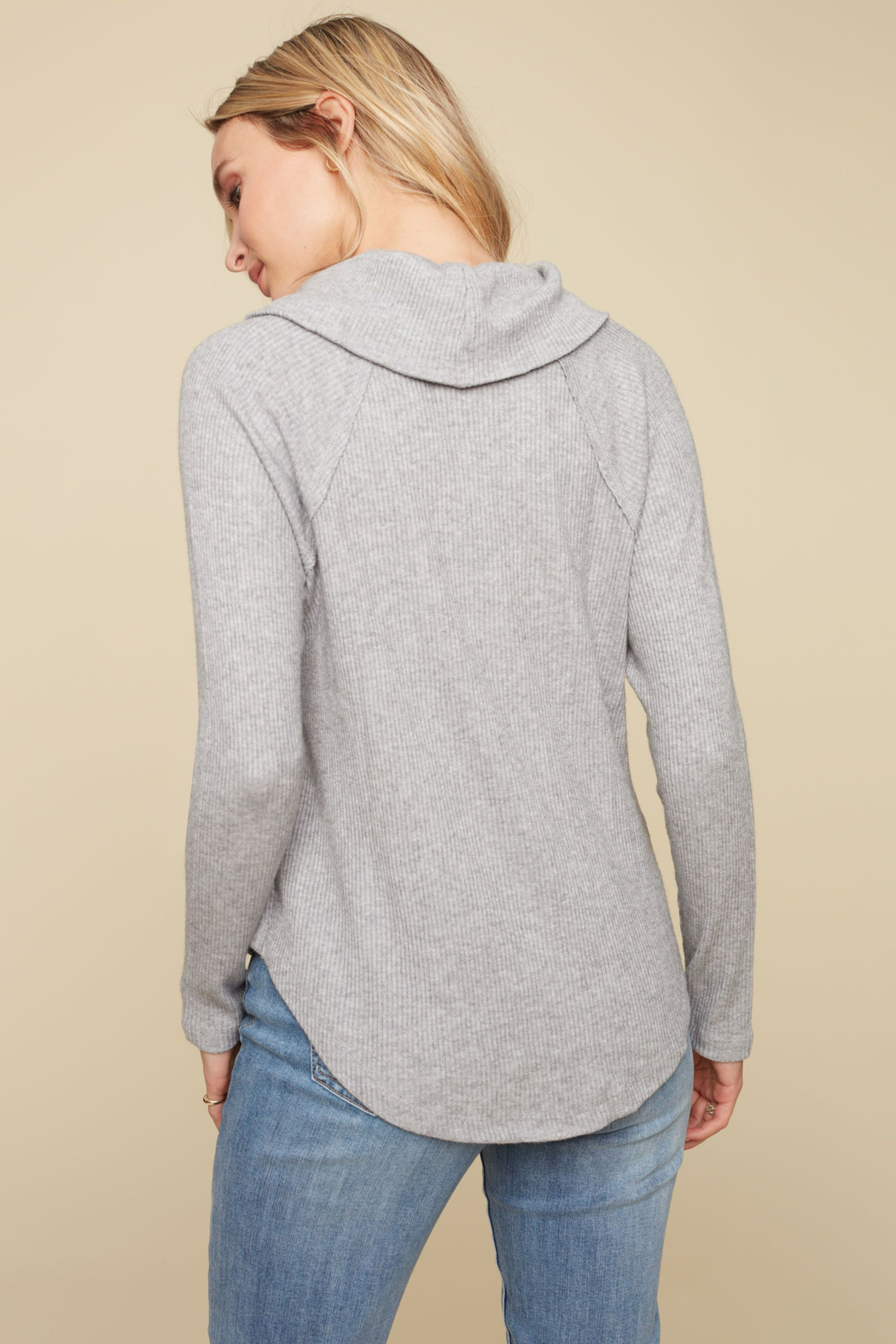 Charlie B. Ribbed Cowl Neck Top - Side Cropped Image