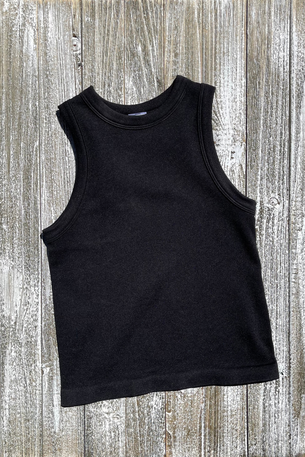 Dynamic Fashion Ribbed Crew neck crop Tank - Front Full Image