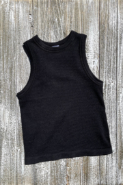 Dynamic Fashion Ribbed Crew neck crop Tank - Front full body