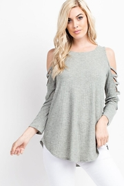 143 Story Ribbed Criss Cross Sleeve Top - Product Mini Image