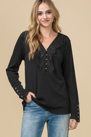 Entro Ribbed crochet lace top - Product Mini Image