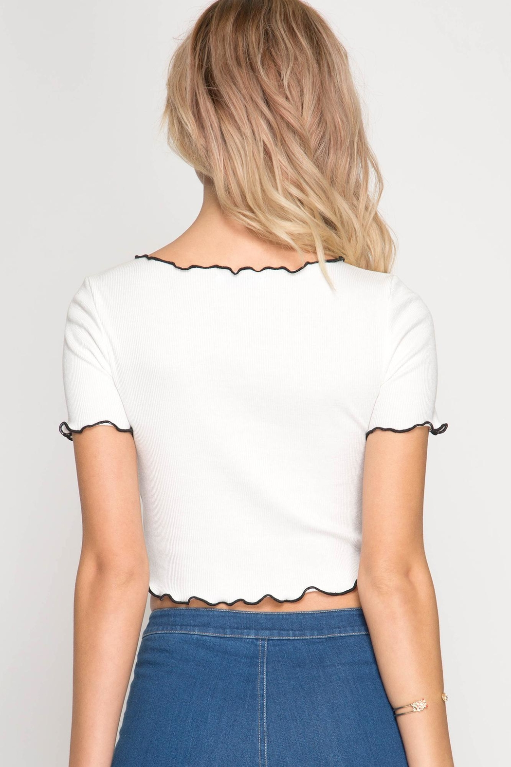 She + Sky Ribbed Crop Tee - Front Full Image