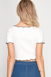 She + Sky Ribbed Crop Tee - Front full body