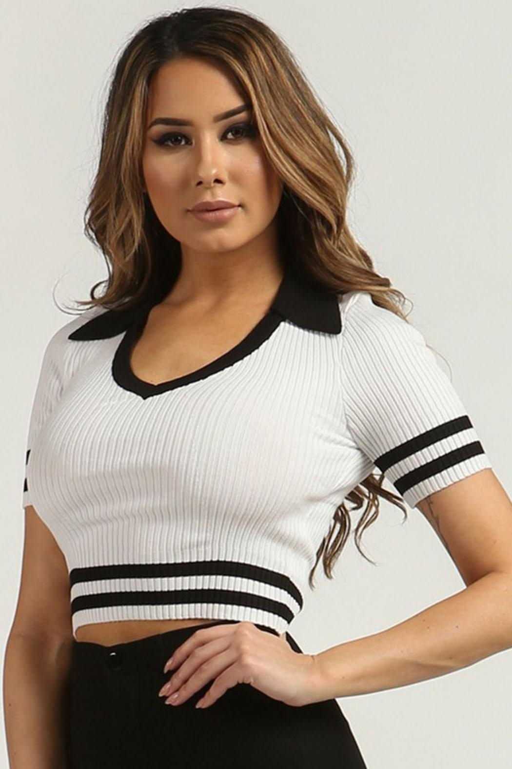 Rehab Ribbed Crop Top - Front Full Image