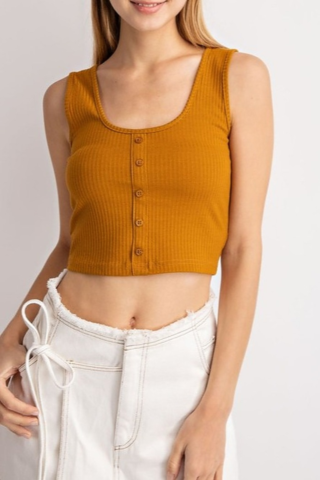 Le Lis Ribbed Crop Top - Front Cropped Image
