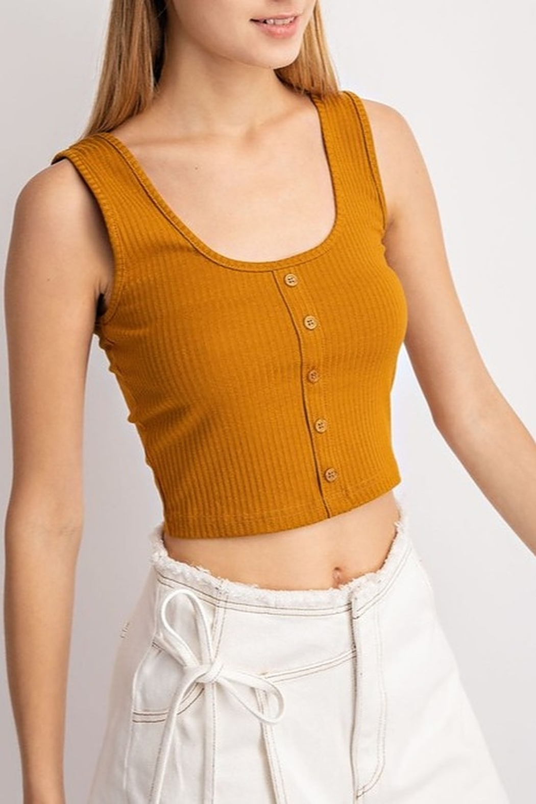 Le Lis Ribbed Crop Top - Front Full Image