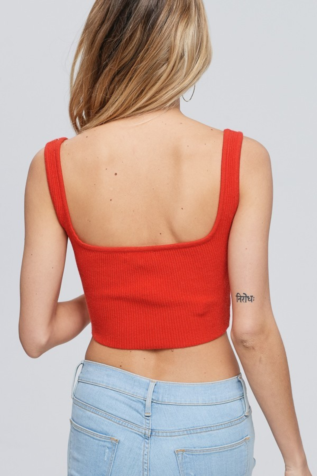 crescent Ribbed Crop Top - Front Full Image