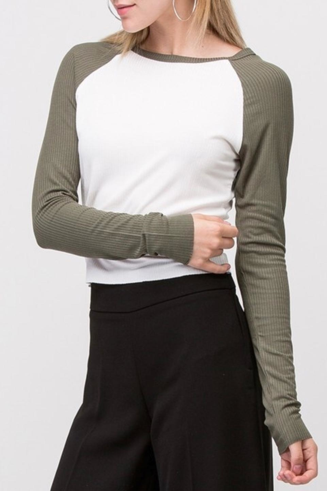 Double Zero Ribbed Crop Top - Front Full Image