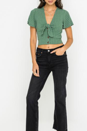Lush  Ribbed cropped front tie button down top - Product Mini Image