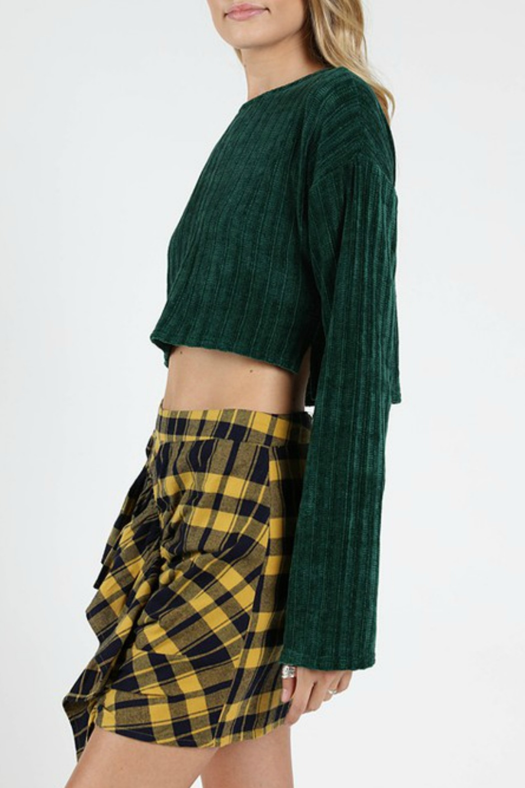 Wild Honey Ribbed Cropped Sweater - Front Full Image