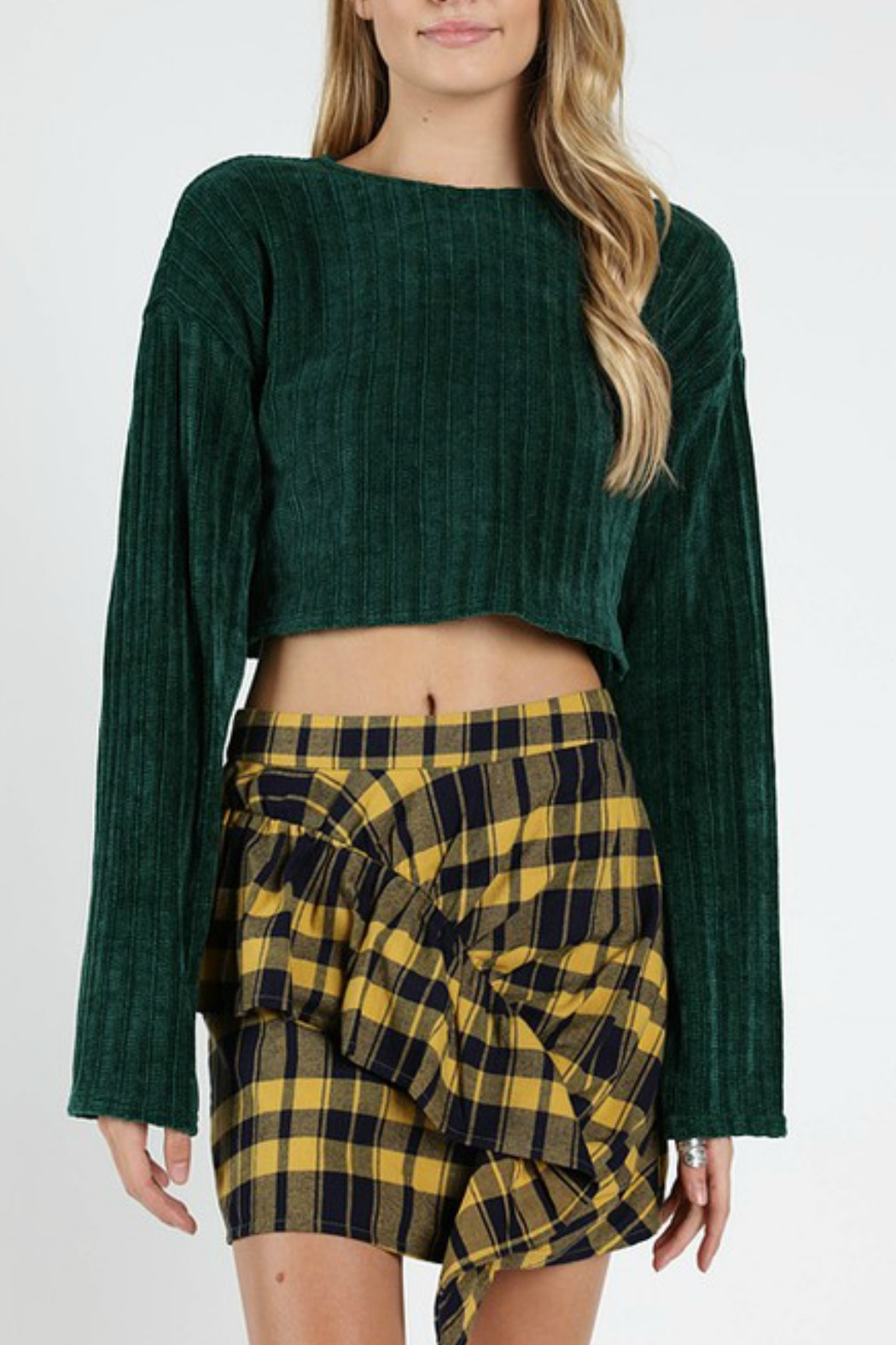 Wild Honey Ribbed Cropped Sweater - Front Cropped Image