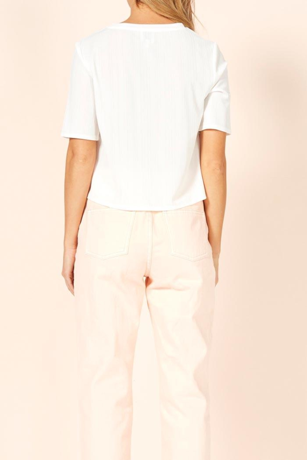 MinkPink Ribbed Cropped Tee - Front Full Image