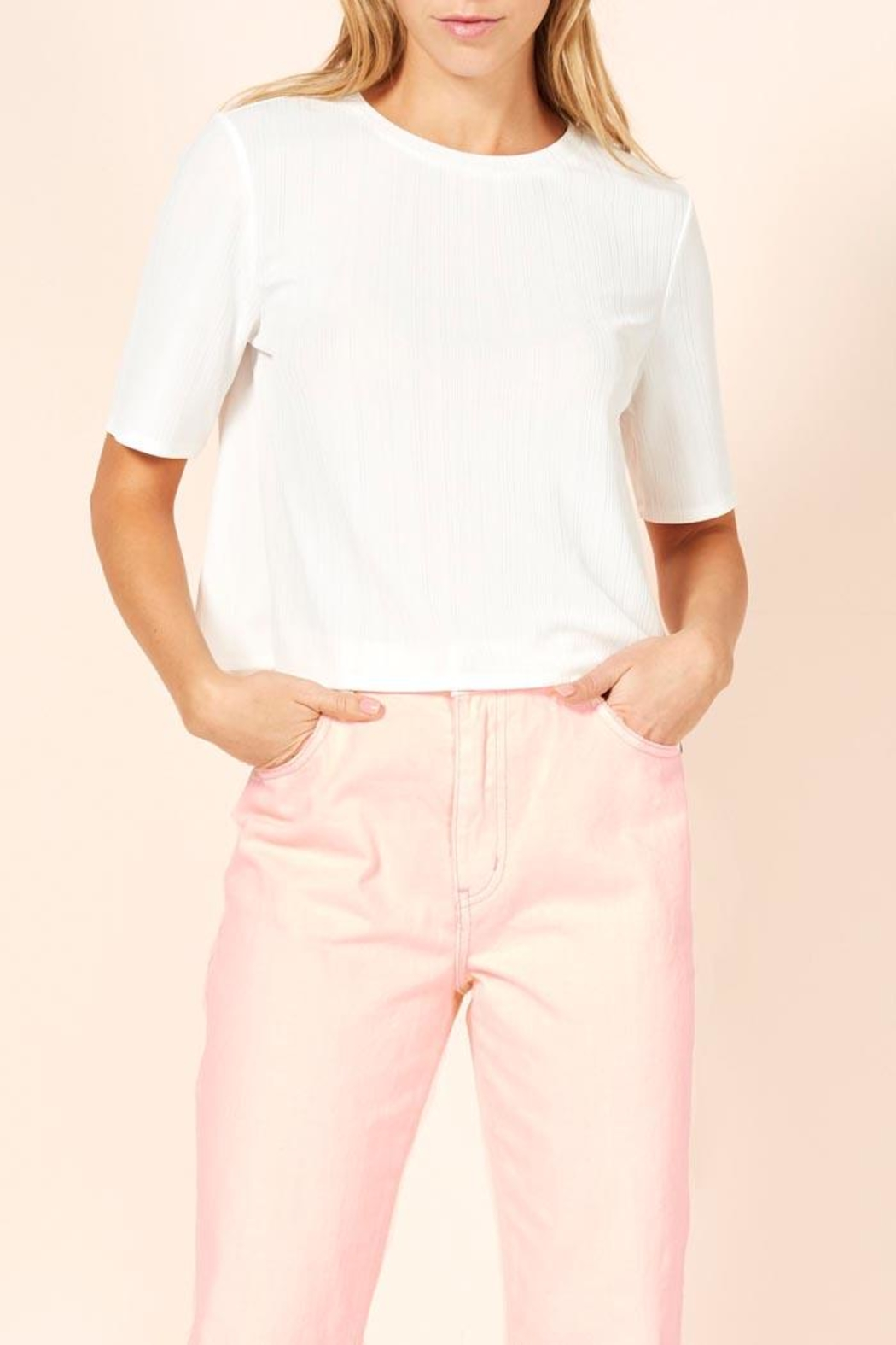 MinkPink Ribbed Cropped Tee - Main Image
