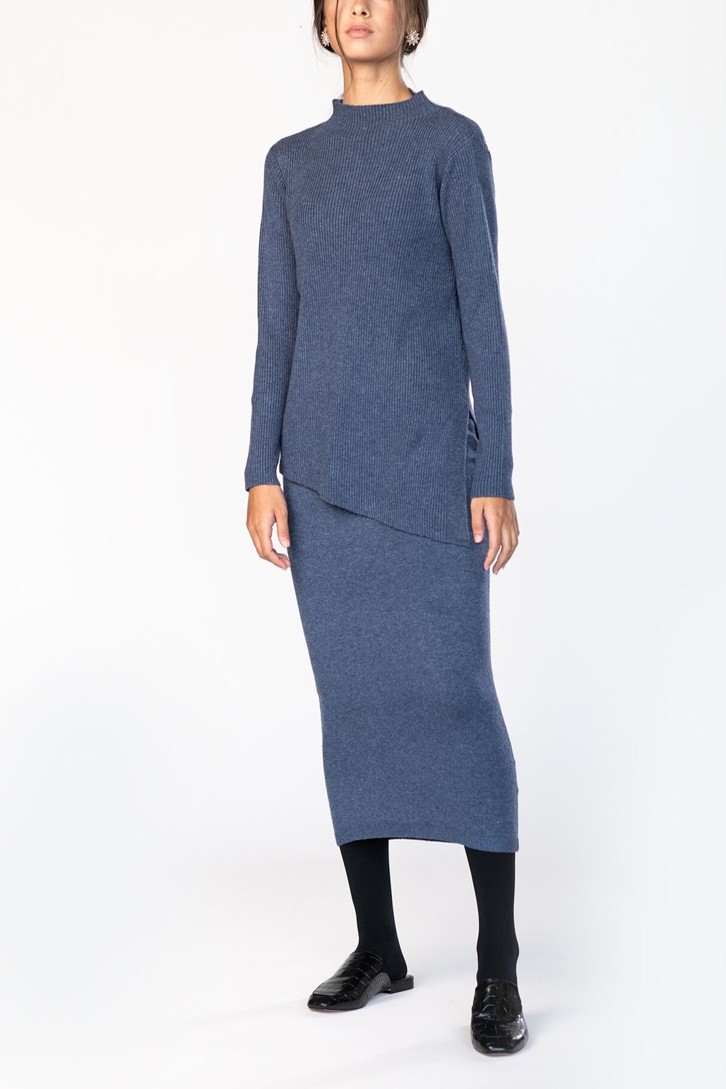 Meli by FAME RIBBED DIAGONAL SWEATER - Front Cropped Image