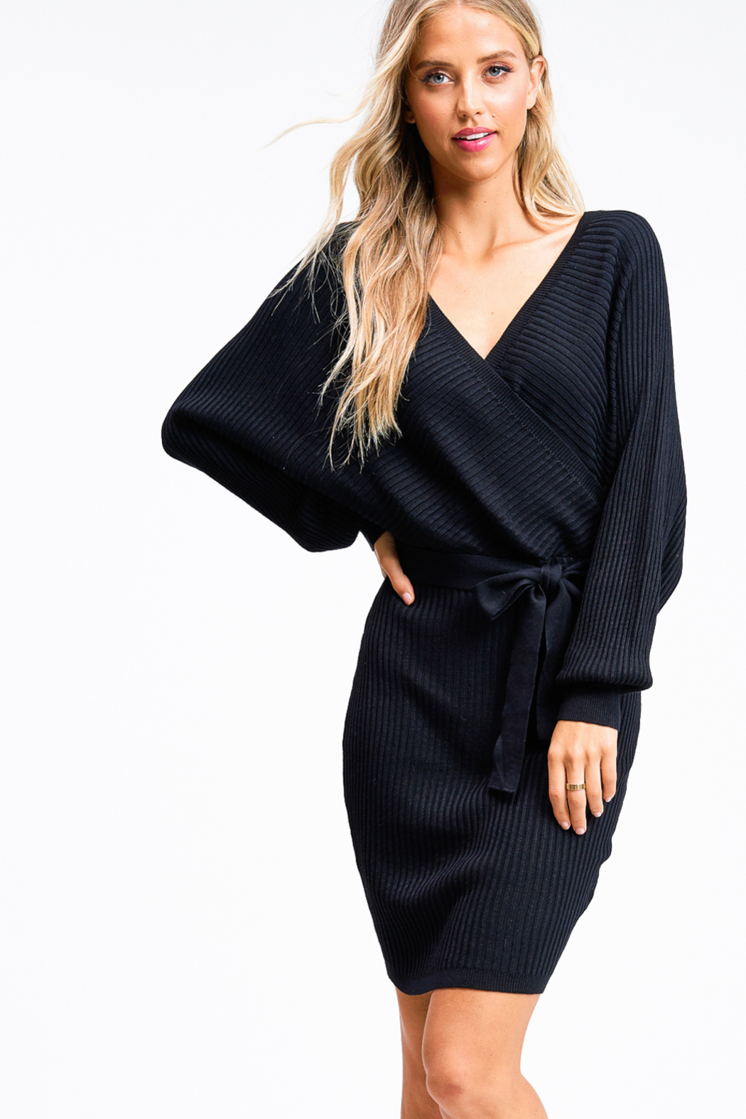MONTREZ Ribbed dolman sleeve sweater dress - Front Cropped Image