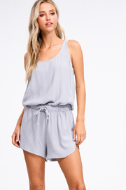 MONTREZ RIBBED DRAWSTRING WAIST ROMPER - Front cropped
