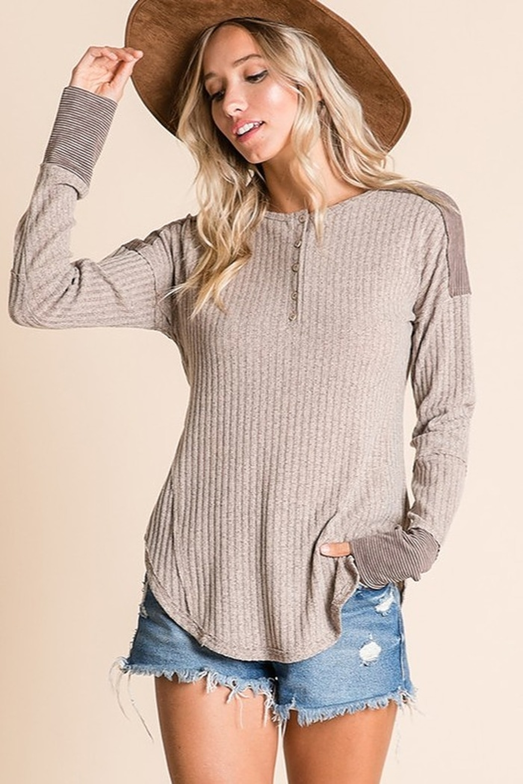 Ces Femme Ribbed Fabric Mix Match Top - Front Full Image