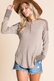 Ces Femme Ribbed Fabric Mix Match Top - Front full body