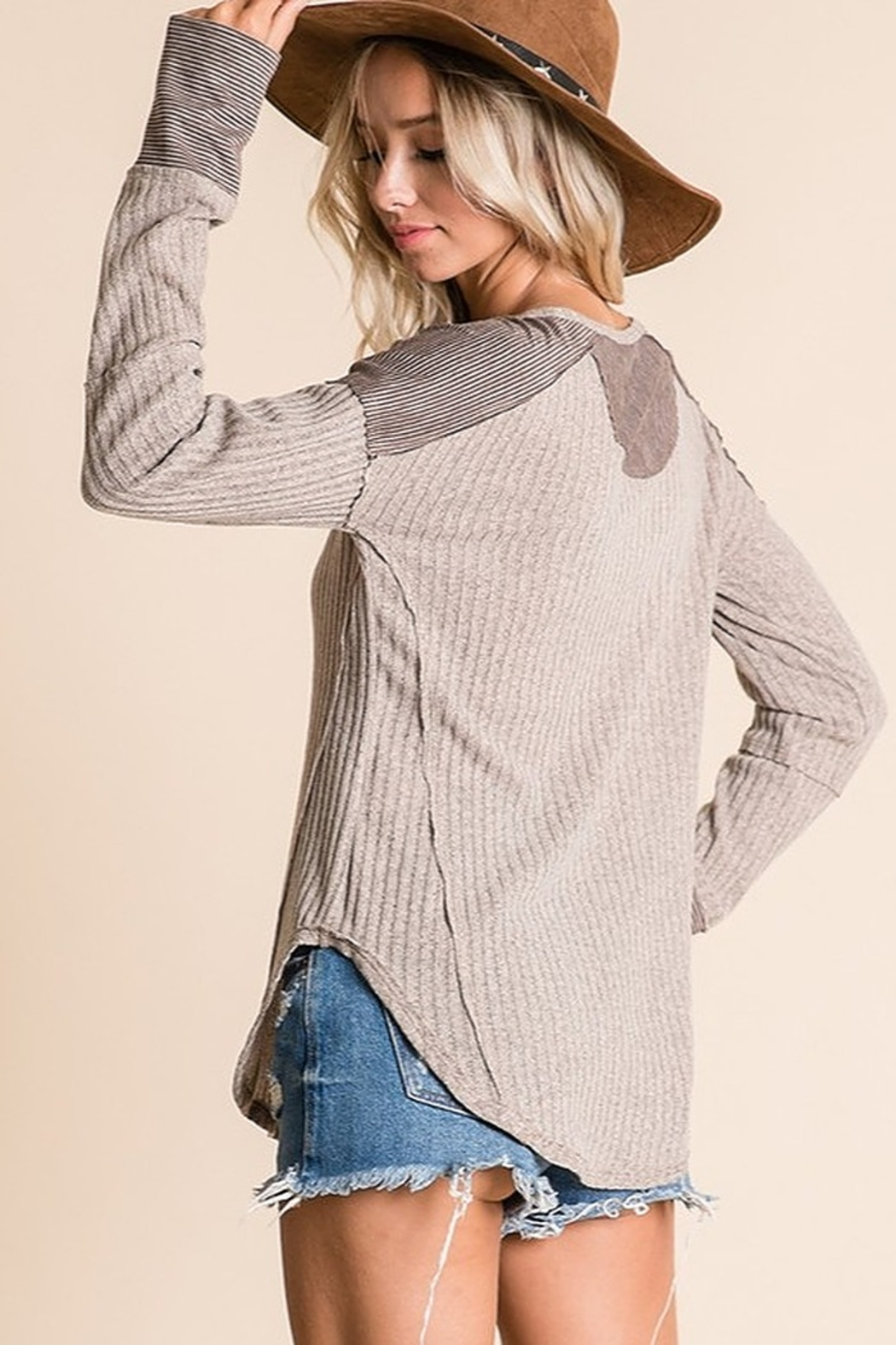 Ces Femme Ribbed Fabric Mix Match Top - Back Cropped Image