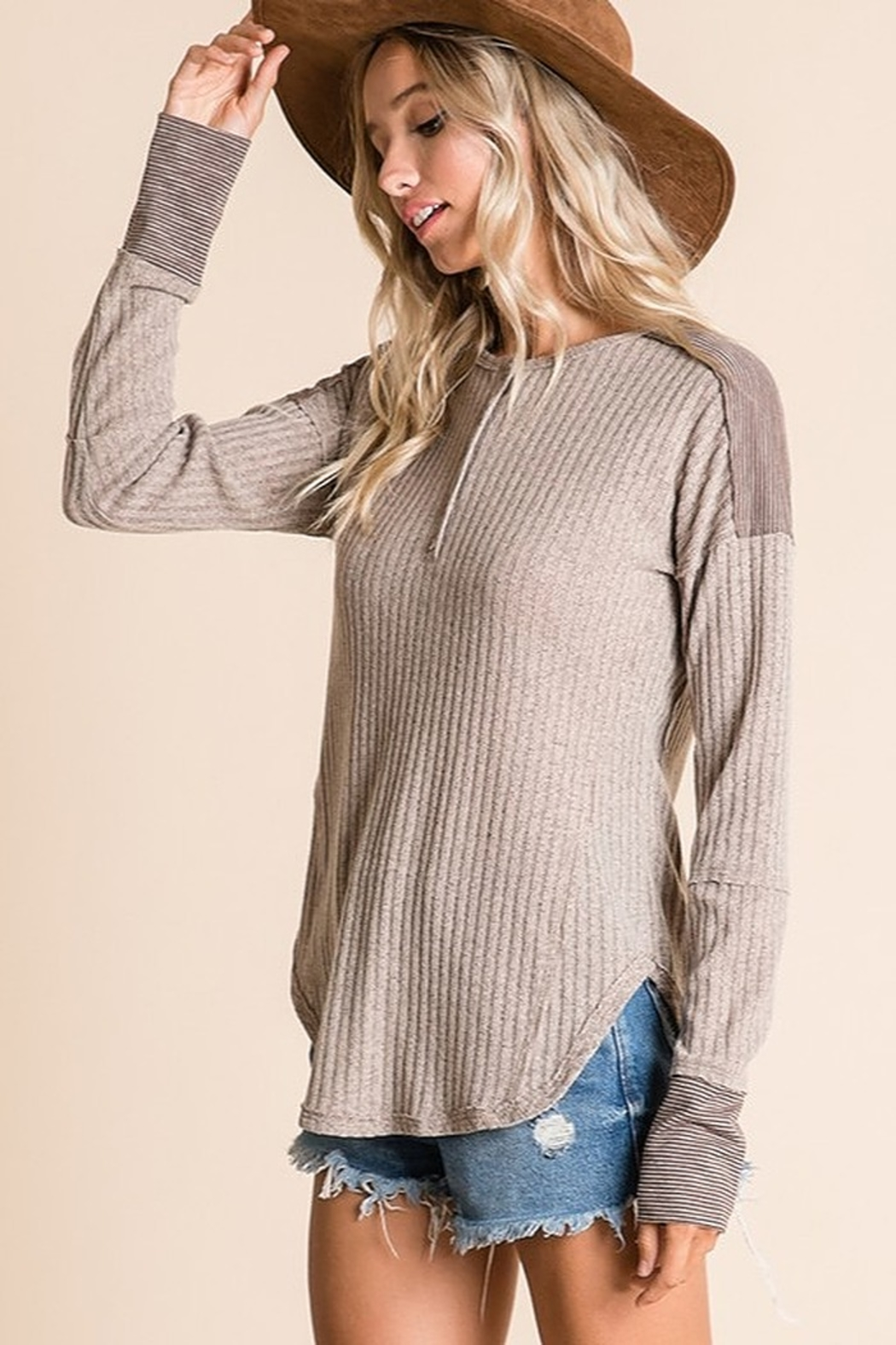 Ces Femme Ribbed Fabric Mix Match Top - Side Cropped Image