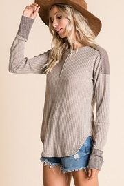 Ces Femme Ribbed Fabric Mix Match Top - Side cropped