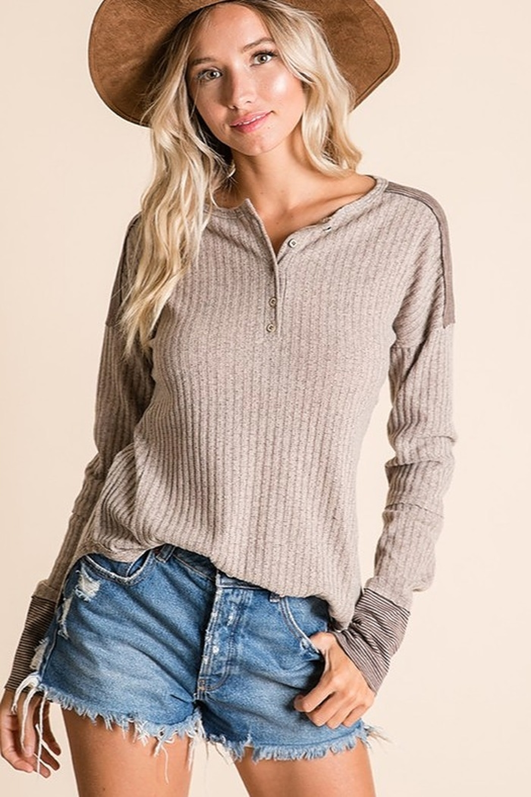 Ces Femme Ribbed Fabric Mix Match Top - Main Image