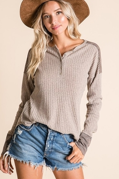 Ces Femme Ribbed Fabric Mix Match Top - Product List Image