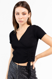 Le Lis Ribbed Faux Wrap Knit Top - Product Mini Image
