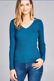 Active Basic ribbed fitted v-neck sweater - Front cropped