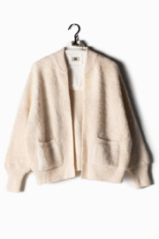 Look Ribbed Fleece Ivory - Front cropped