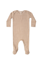 Quincy Mae Ribbed Footie - Walnut Stripee - Product Mini Image