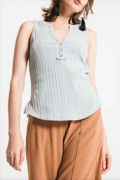 Others Follow  Ribbed Henley Tank - Product List Image