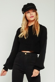 Olivaceous  Ribbed Hoodie Sweater - Front cropped