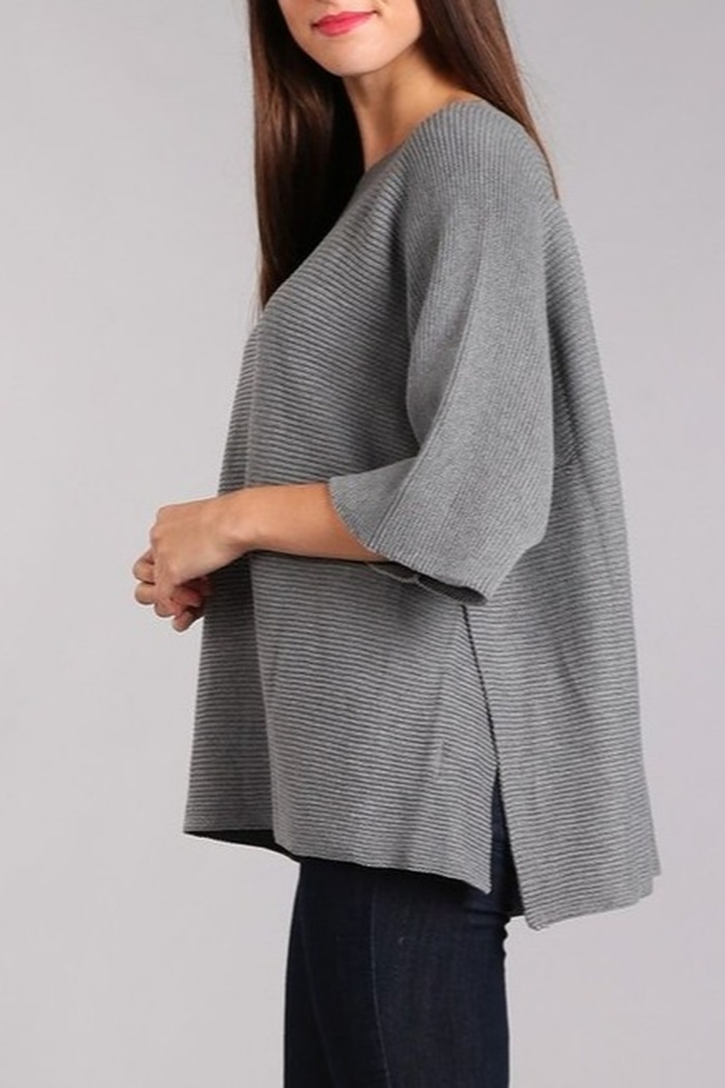 Blvd Ribbed Knit Dolman Sweater - Side Cropped Image