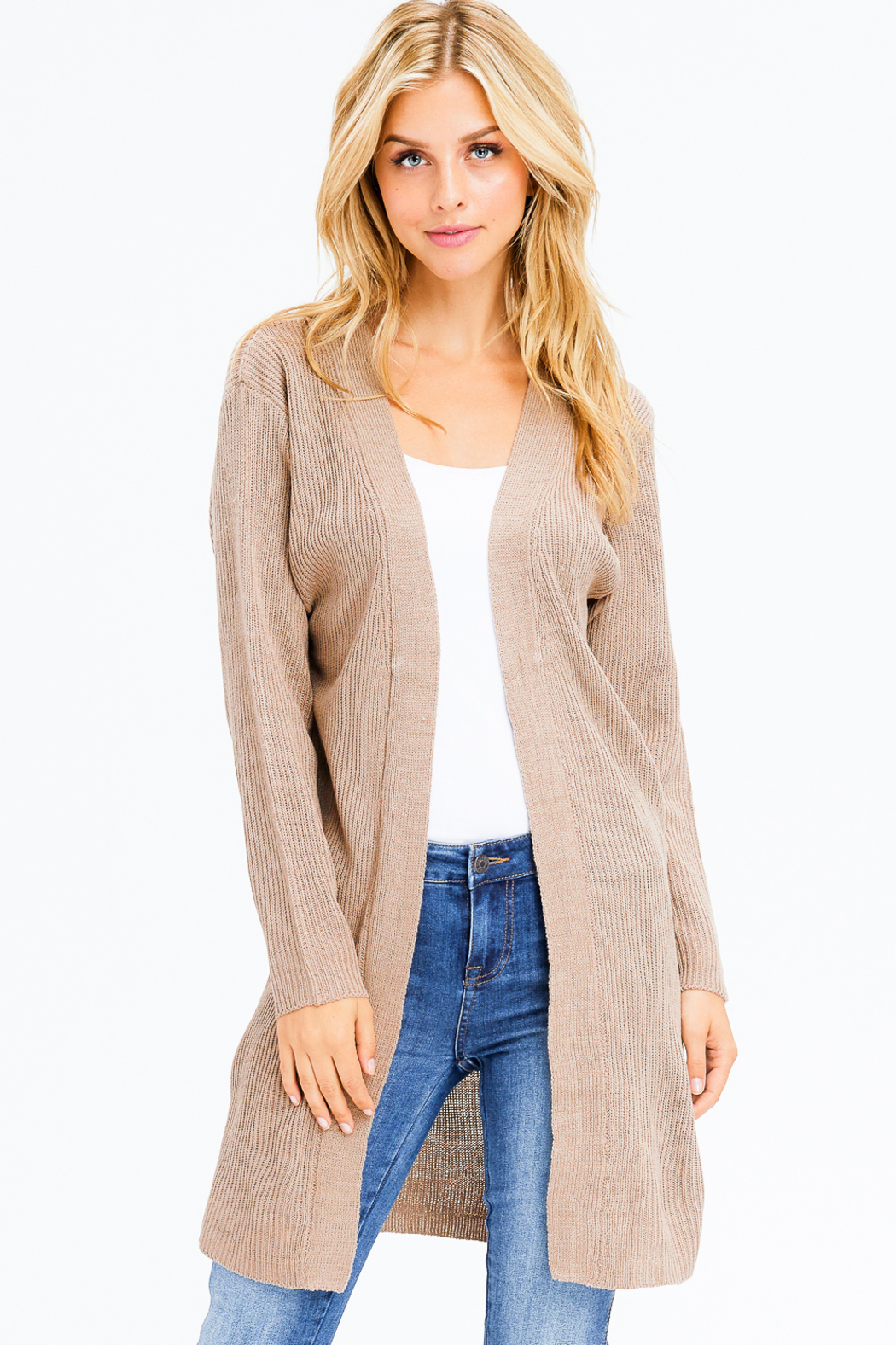 MONTREZ RIBBED KNIT DUSTER CARDIGAN - Front Full Image