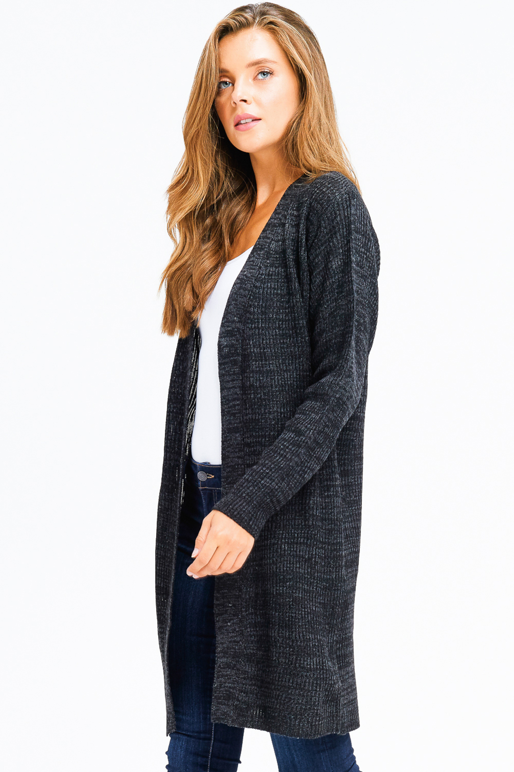 MONTREZ RIBBED KNIT DUSTER CARDIGAN - Side Cropped Image