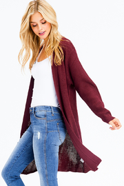 MONTREZ RIBBED KNIT DUSTER CARDIGAN - Side cropped