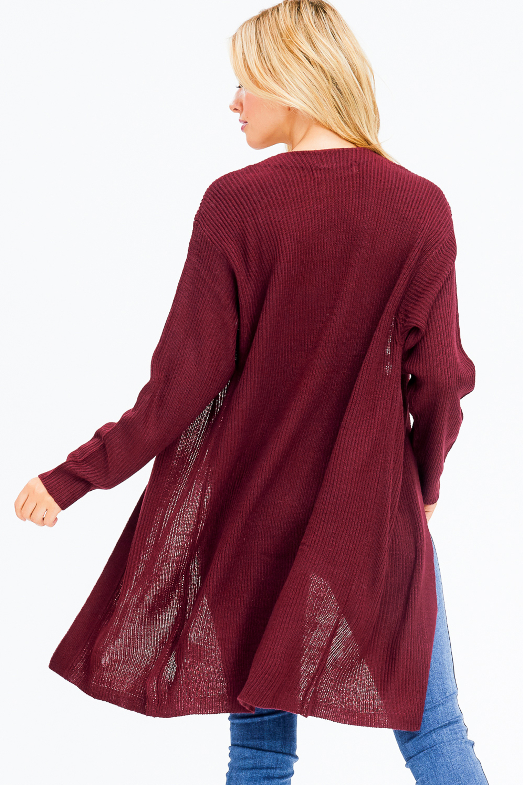 MONTREZ RIBBED KNIT DUSTER CARDIGAN - Back Cropped Image