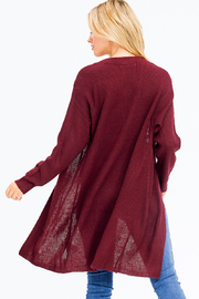 MONTREZ RIBBED KNIT DUSTER CARDIGAN - Back cropped