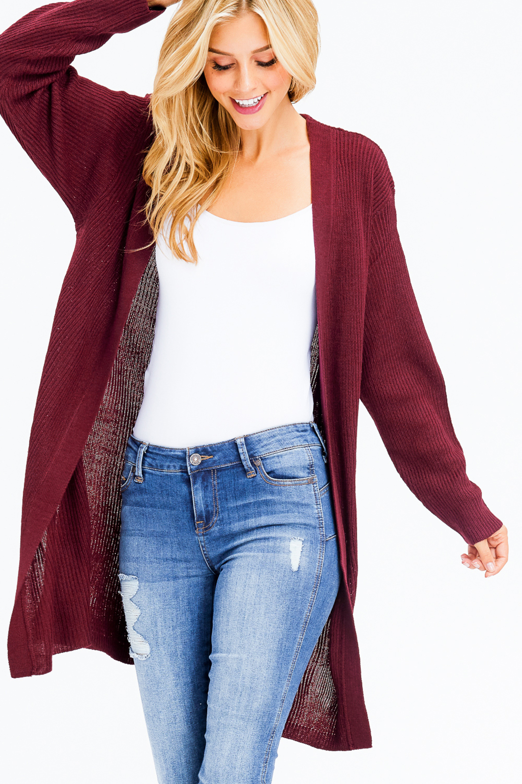 MONTREZ RIBBED KNIT DUSTER CARDIGAN - Front Cropped Image